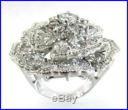 925 Sterling Silver Cz Cubic Zirconia Large Floral Flower Ring Size 7.5 Rt0