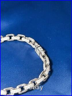 925 Sterling Silver Exclusive Style Bracelet Gents FULL Cubic Zirconia Stones