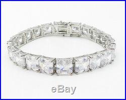 925 Sterling Silver Faceted Prong Set Cubic Zirconia Tennis Bracelet B4154