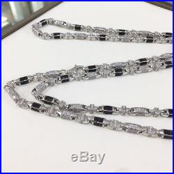 925 Sterling Silver Gents Cubic Link Chain WHITE&BLACK CZ STONES