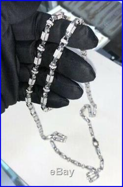 925 Sterling Silver Gents Cubic Link Chain WHITE CZ STONES