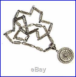 925 Sterling Silver Greek Key Cubic zirconia spinner Pendant 95.0g estate