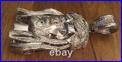 925 Sterling Silver Hip Hop Bling Ic CZ Cubic Zirconia Jesus Piece Pendant Charm