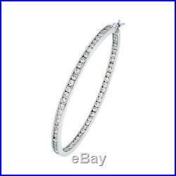 925 Sterling Silver Hoop Post Earrings with Cubic Zirconia 2 1/8 inch