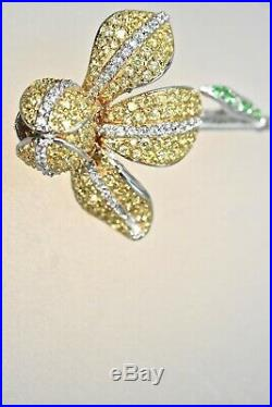 925 Sterling Silver Iris Pin Brooch Floral High Quality Cubic Zirconia Rhodium