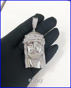 925 Sterling Silver Jesus Design Pendant Cubic Zirconia Stones