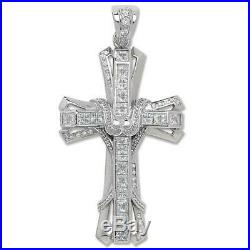925 Sterling Silver Large 80mm Gothic Cubic Zirconia Heavy Holy Cross Pendant