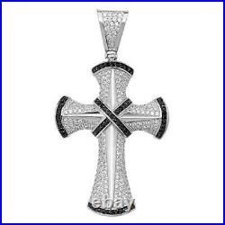 925 Sterling Silver Large 85mm Cubic Zirconia Heavy 32.7g Cross Pendant Gift Box