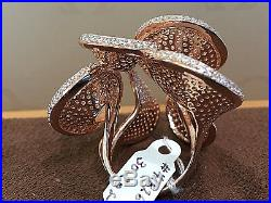 925 Sterling Silver Large Cluster Ring Cubic, 18k Rose gold overlay. Size 7