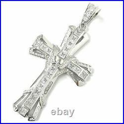 925 Sterling Silver Large Cross Pendant Cubic Zirconia stones 29.5g Hallmarked