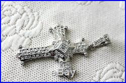 925 Sterling Silver Large Cross Pendant with Clear CZ Cubic Zirconia