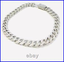 925 Sterling Silver Mens Bracelet Cuban Link With Cubic Zirconia and Box Luck