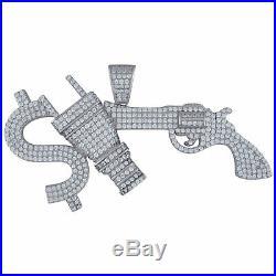 925 Sterling Silver Mens CZ Cubic Zirconia Money Power Respect Hip Hop Charm Pen