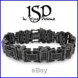 925 Sterling Silver Mens Fancy Bling Cubic Zirconia Black Bracelet Bangle 8.5