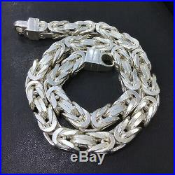 925 Sterling Silver Mens Necklace Bali Byzantine Kings Chain Cubic Solid Heavy
