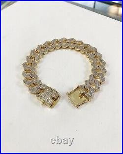 925 Sterling Silver Miami Cuban Style Bracelet Gents with Cubic Zirconia Stones