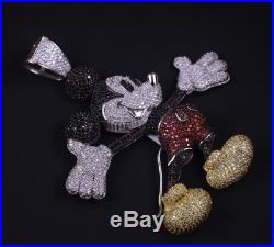 925 Sterling Silver Mickey Mouse Pendant FULL Cubic Zirconia Stones