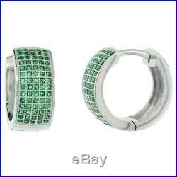 925 Sterling Silver Micro Pave Green Cubic Zirconia Huggie Hoop Earring