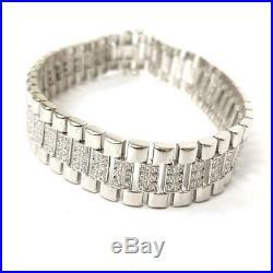 925 Sterling Silver NEW Cubic Zirconia Watch Strap Bracelet 34.8g
