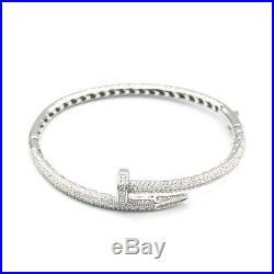 925 Sterling Silver Nail Cubic Zirconia Bangle Bracelet