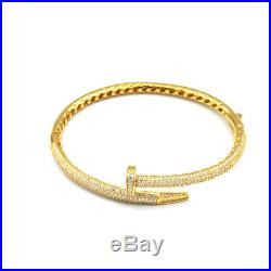 925 Sterling Silver Nail Cubic Zirconia Bangle with 24k gold Plating