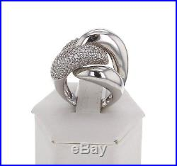 925 Sterling Silver Overlap Cocktail Ring with Cubic Zirconia Size 7