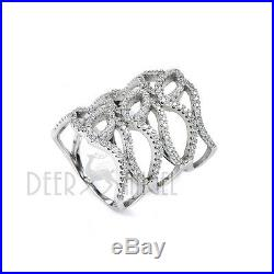 925 Sterling Silver Paved CZ Cubic Zircon Stones Fantasy Large Ring Size 6 7 8 9