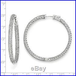925 Sterling Silver Rh 2 Inch Diameter Cubic Zirconia Cz In Out Hoop Earrings
