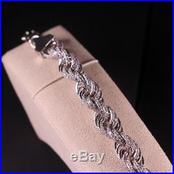 925 Sterling Silver Rope Style Bracelet Gents FULL Cubic Zirconia Stones