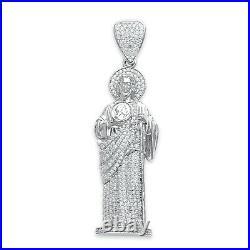925 Sterling Silver Saint Jude Pendant with Cubic Zirconia CZ St. Judas