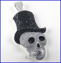 925 Sterling Silver Smoking SKULL Pendant Full Cubic Zirconia Stones
