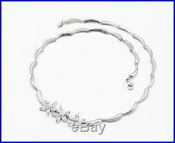 925 Sterling Silver Sparkling Cubic Zirconia Flowers Chain Necklace N2334