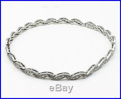 925 Sterling Silver Sparkling Cubic Zirconia Wavy Link Chain Necklace N2333