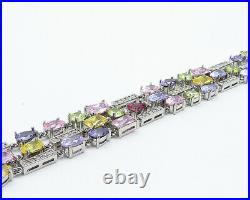 925 Sterling Silver Sparkling Multi-Color Cubic Zirconia Chain Bracelet- B7341