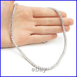 925 Sterling Silver Sparkling Round Cut Cubic Zirconia Tennis Necklace N3259