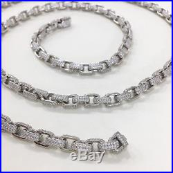 925 Sterling Silver Special Design Chain Gents FULL Cubic Zirconia Stones