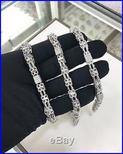 925 Sterling Silver Special Design Chain With CZ Cubes Cubic White