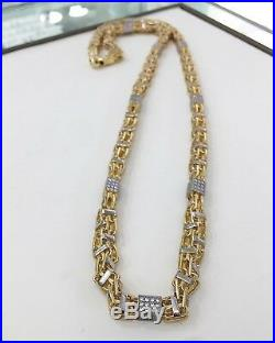 925 Sterling Silver Special Design Chain With CZ Cubes Cubic White&Yellow