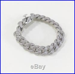 925 Sterling Silver Unique Cuban Style Bracelet Gents with Cubic Zirconia Stones
