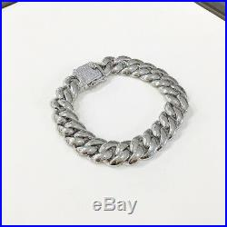 925 Sterling Silver Unique Cuban Style Bracelet Gents with Cubic Zirconia Stones