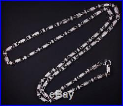 925 Sterling Silver Unique Link Chain Gents Cubic Zirconia Stones