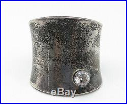 925 Sterling Silver Vintage Cubic Zirconia Accented Wide Cuff Bracelet- B5369