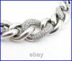 925 Sterling Silver Vintage Cubic Zirconia Curb Link Chain Necklace NE1124