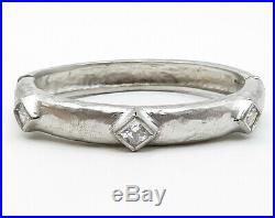 925 Sterling Silver Vintage Cubic Zirconia Hammered Bangle Bracelet B3287