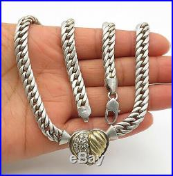 925 Sterling Silver Vintage Cubic Zirconia Love Heart Chain Necklace N2888