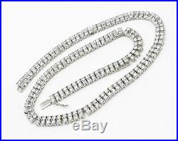 925 Sterling Silver- Vintage Paved Cubic Zirconia Two Row Tennis Necklace- N1872