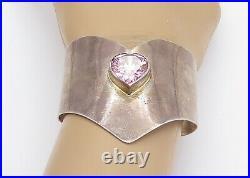 925 Sterling Silver Vintage Pink Cubic Zirconia Heart Cuff Bracelet B8689
