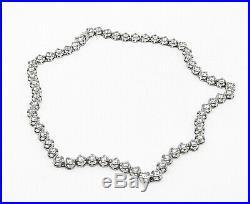 925 Sterling Silver Vintage Sparkling Cubic Zirconia Tennis Necklace N2290
