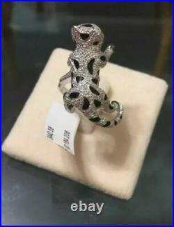 925 Sterling Silver White Panther Leopard Ring Cubic Zirconia Women's Ring