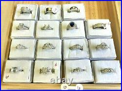 925 Sterling Silver Wholesale Lot 81 Rings -Rhodium Plated -Cubic Zirconia